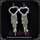 8cm long heart w/ dangling clear crystal rhinestone sparkling wedding bridal earrings E3016