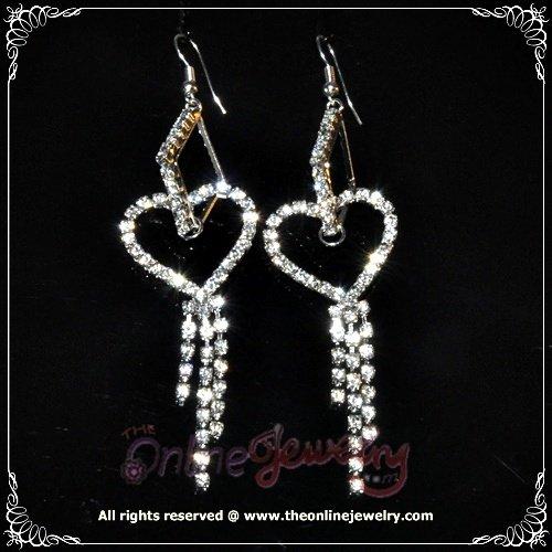 7.5 cm long heart dangling on rhombus clear crystal rhinestone sparkling queen earrings E3017