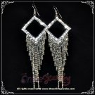 Unique 10cm long square w/ dangling clear crystal rhinestone sparkling evening earrings