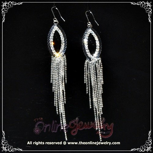 10cm long oval dangling clear crystal rhinestone sparkling bridesmaid prom earrings E3023