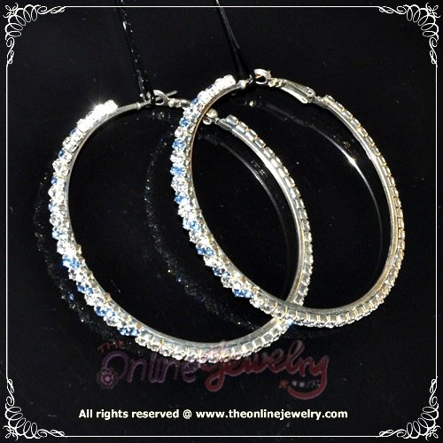 6cm large classic two tone blue n clear crystal rhinestone sparkling hoop earrings E3001
