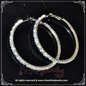 6cm large classic two tone blue n clear crystal rhinestone sparkling hoop earrings E3001