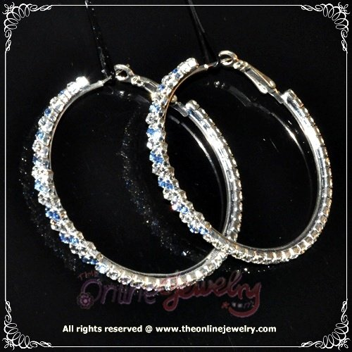 5.5cm large classic two tone blue n clear crystal rhinestone sparkling hoop earrings E3002