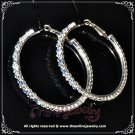 5.5cm large classic two tone blue n clear crystal rhinestone sparkling hoop earrings E3002