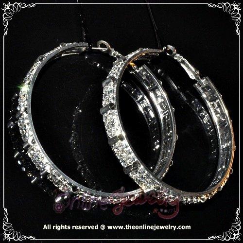 5.5cm large classic clear crystal rhinestone sparkling bridal hoop earrings E3003
