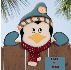 CUTE PENGUIN FENCE TOPPER A CUTE CHRISTMAS DECORATION