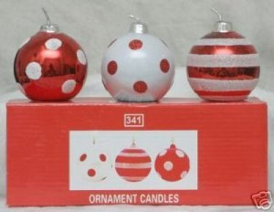 BEAUTIFUL ORNAMENT CANDLES.....SET OF 3