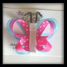 Pink, Blue, and White Double Wing Butterfly Hair Clip