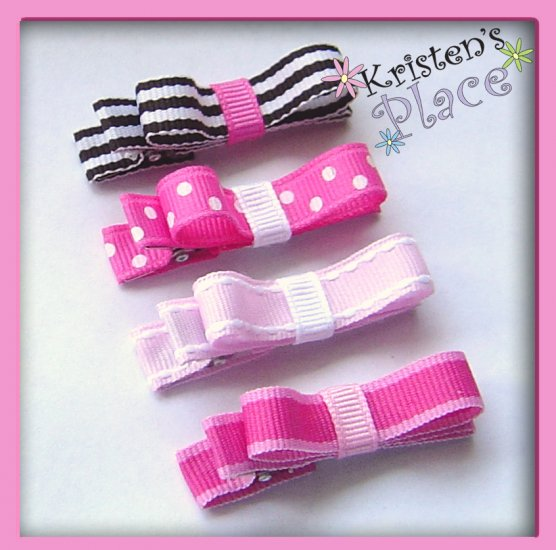 Pretty in Pink -Tuxedo Bow - Set of 4 - No Slip Grip