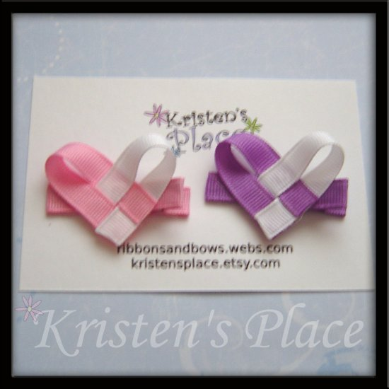 Heart Hair Clippies - Set of 2 - Hair Clip / Bow