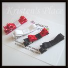 4 Tuxedo Hair Clips - Red, White, Black - No Slip Grip Available
