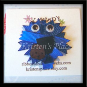 Blue Monster with Cookie - Hair Clip / Hair Bow