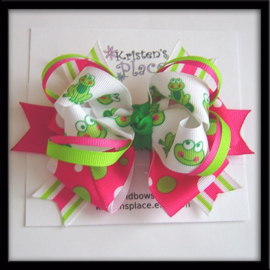 Large Layered Boutique Hair Bow - Frog Bow - Pink, White, Green