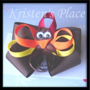 Boutique Turkey Hair Bow - Thanksgiving - No Slip Grip
