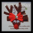 Reindeer Hair Clip - Rudolf Hair Bow - Boutique Christmas Bow