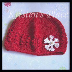 Red Crochet Hat - Toddler to Pre-teen size- Kufi Cap - with Snowflake, Santa, or Christmas Tree