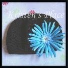 Black Crochet Hat - Toddler to Pre-teen size- Kufi Cap - with Blue, Pink, or Purple Flower