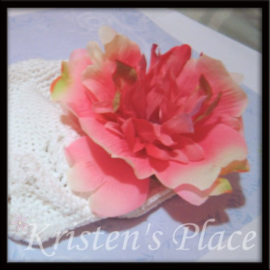 White Crochet Hat - Toddler to Pre-teen size- Kufi Cap - Extra Large Pink Peony