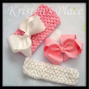 Boutique Bow and Headband Set - Pink and White - 2 Bows and 2 Headbands