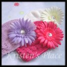 Boutique Daisy Hair Clip w/ Crochet Toddler Hat - U Choose - Pink, Purple, White
