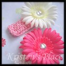 Pretty in Pink - 2 Flowers and 2 Headbands - Pink and White - Headband Flower Set