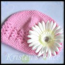 Pink Crochet Hat with White Daisy -- Infant or Toddler Size- Kufi Cap
