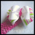 Large Double Stacked Boutique Bow - Pink , Green, and White - Plus FREE Headband - Bowband