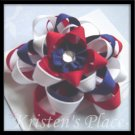 4th of July - Boutique Star Flower Bow - Patriotic Ribbon Flower Clip- 5 Layer Stacked Flower Bow