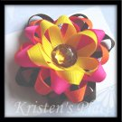 4 Layer Ribbon Flower - Boutique Flower Hair Bow - Brown, Pink, Orange, Yellow
