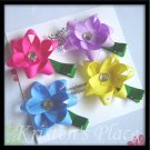 Boutique Flower Hair Clip - Set of 4 Ribbon Flowers - Pink, Blue, Yellow, Purple