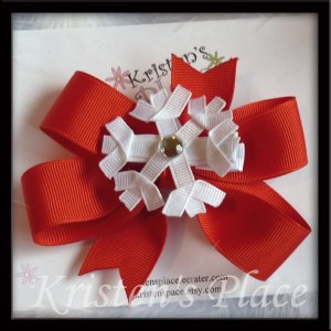 Snowflake Hair Bow - Detachable Red Bow - Christmas Bow - Boutique Winter Bow - 2 Bows in 1