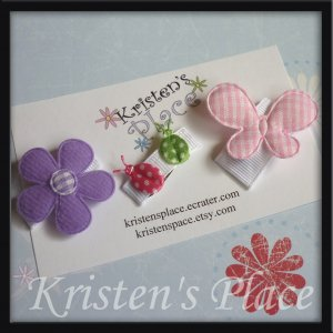 Baby Hair Clip Set - Flower Bow - Ladybug Bow - Butterfly Bow - U Choose Colors