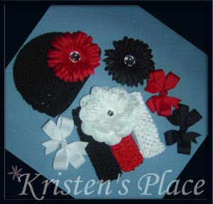 Boutique Flower, Bow, and Headband Set - Little Diva Girl Set - Red, Black, and White