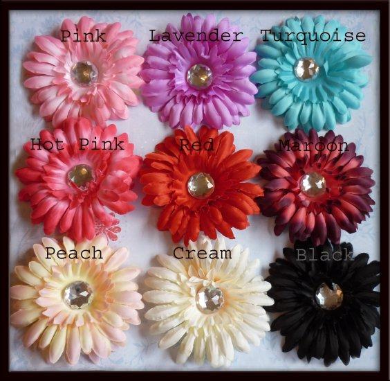 Jeweled Daisy Hair Clip - Classic Daisy - U Choose - 9 Colors - FREE Interchangeable Headband