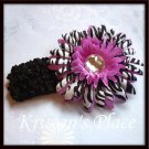 Jeweled Daisy Hair Clip - Zebra Print - U Choose - Pink, Purple, Turquoise - FREE Headband