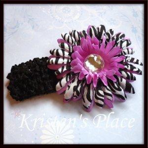 Jeweled Daisy Hair Clip - Zebra Print - U Choose - Pink, Purple, Turquoise - FREE Headband