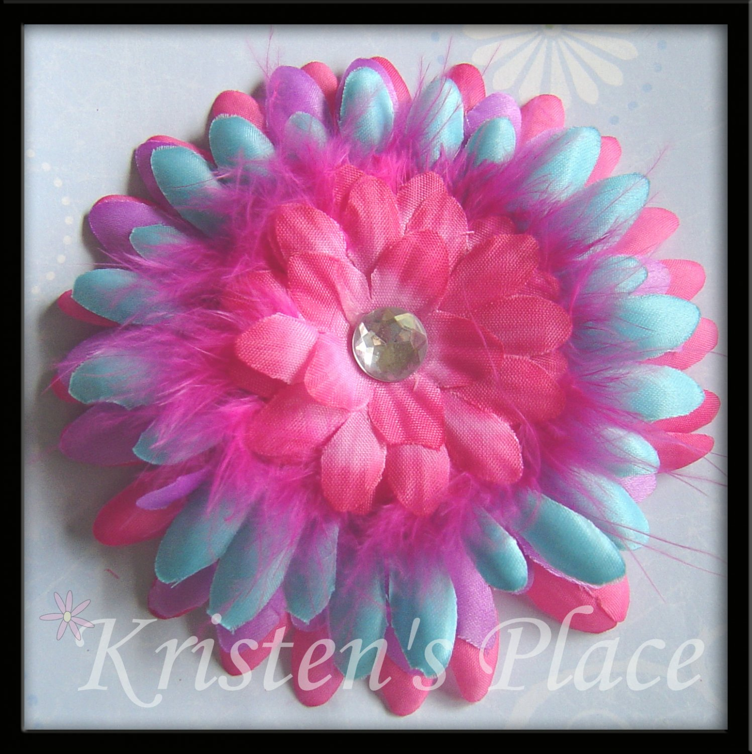 SUMMER SALE - Jeweled Daisy Hair Clip - Pink, Purple, Turquoise