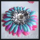 SUMMER SALE - Jeweled Daisy Hair Clip - Pink, Purple, Turquoise, Zebra