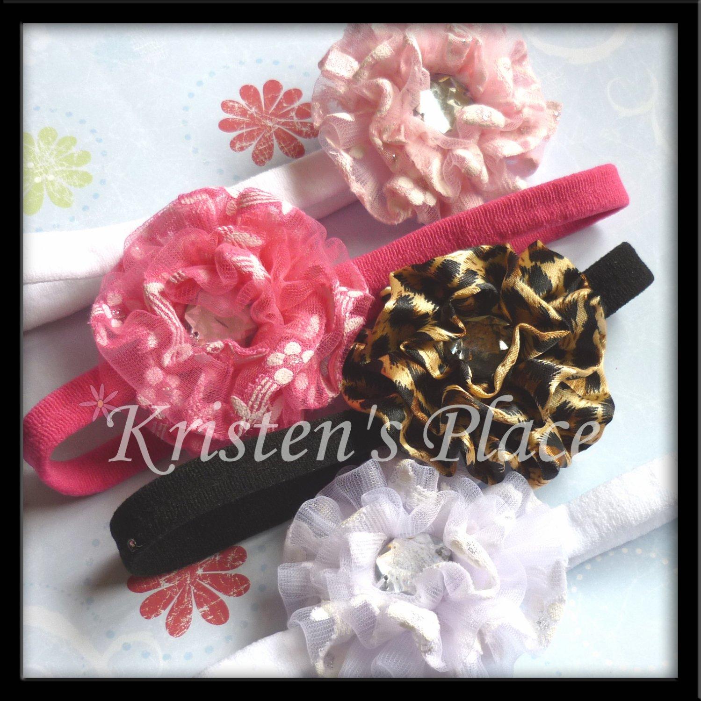 Rosette Headband - U Choose - Pink, Hot Pink, White, or Leopard Print