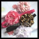 Rosette Headband - U Choose - Pink, Hot Pink, White, or Leopard Print