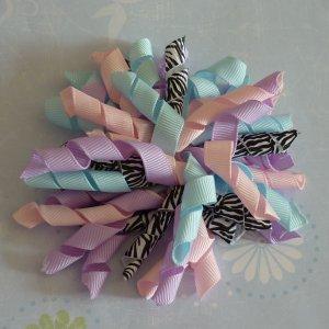 Boutique Hair Bow - Korker - Pastel Zebra Print
