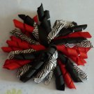 Korker Bow - Red, Black, and White Zebra Print