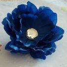 Flower Hair Clip - Peony - Blue
