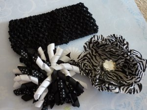 Boutique Hair Bow Set - Black and White