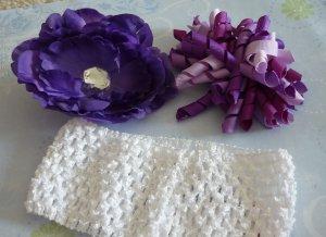 Boutique Hair Bow Set - Purple