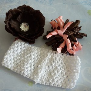 Boutique Hair Bow Set - Brown and Pink