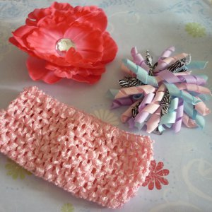 Boutique Hair Bow Set - Pink Peony and Pastel Zebra Korker