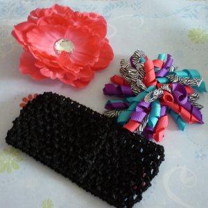 Pink Peony and Bright Zebra Print Korker Hair Bow Set