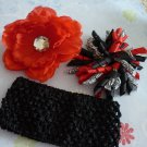 Red Black and White Hair Bow Set
