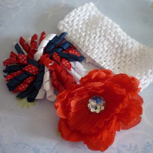 Fourth of July - Hair Bow Set - Red, White, and Blue